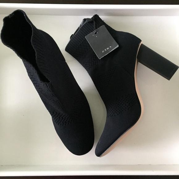 New Zara Black Fabric High Heel Ankle